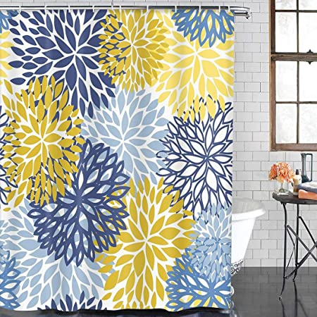 Abili Shower Curtain Green Spring Floral Blue Yellow And Navy Chrysanthemum Flow