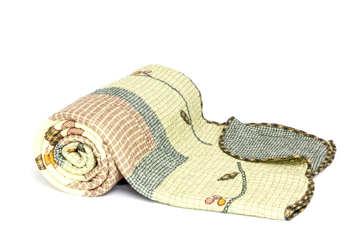 1001 Wohntraum YW1113E Quilt F Blume Vintage, 230 x 250 cm, Plaid Tagesdecke, Patchwork Landhaus Shabby Decke