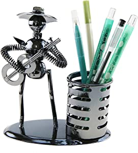 Music Musician Theme Iron Hat Man Art Steel Metal Creative Personality Pen Holder Pencil Holder Cup Pot Office Students Desktop Music Decoration Decor Toy Gift Ornaments (A20011 Guitar)