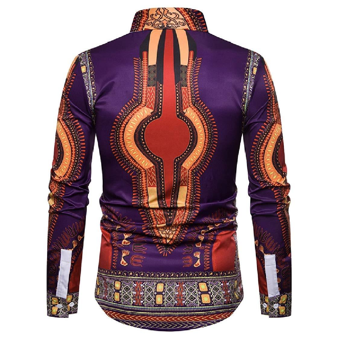 YUNY Mens African Dashiki 3D Digital Printed Long-Sleeve Western Shirt Purple XL