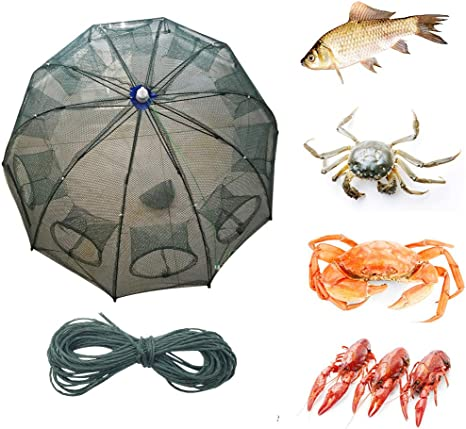 8 Holes Foldable Fishing Bait Trap Crab Net Shrimp Cast Dip Fish Minnow M6I4