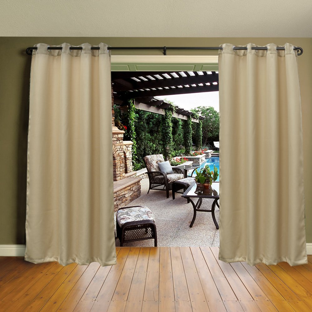 Cross Land Curtains Mildew Resistant Thermal Insulated Waterproof Outdoor Curtains/Exterior Shades/Blinds,Stripe,Drapes for Patio Porch,Pergola,Cabana,Dock Beach and Home (54''x 84'', Beige)