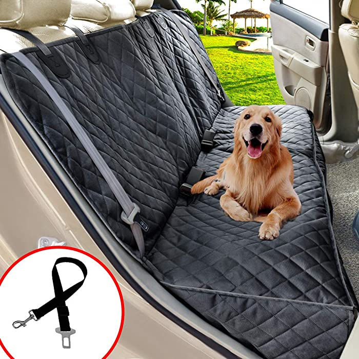 Henkelion Dog Seat Cover for Back Seat, Dog Car Seat Covers for Dogs Pets, Car Hammock for Dogs, Bench Rear Seat Cover for Dogs, Waterproof Protective Dog Seat Covers for Cars SUV Trucks - Grey Black