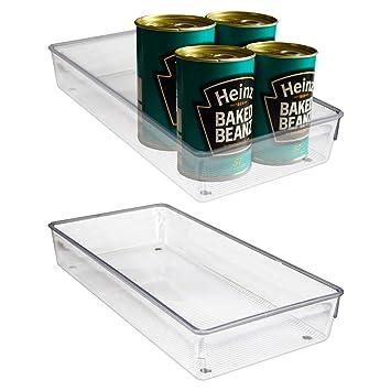 Pack 2 Recipientes Organizar Refrigerador Plástico Acrílico Transparente por Kurtzy - 30,5 x 15