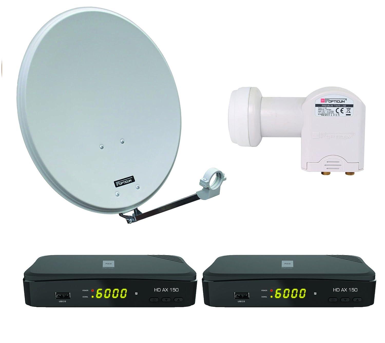 Opticum numé rique 2sorties Satellite Kit complet pour HD AX 150Ré cepteur HDTV (Opticum LNB Twin, Opticum QA 60cm Antenne lumiè re gris acier) Opticum QA 60cm Antenne lumière gris acier) 92007