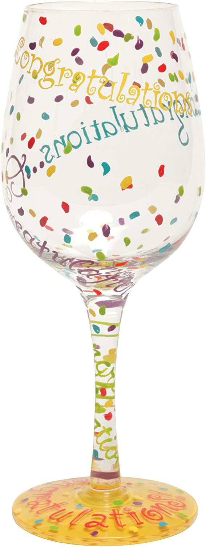 "Designs by Lolita ""Congratulations"" Hand-painted Artisan Wine Glass, 15 oz."