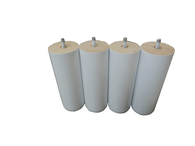 HEVEA SELECTION PDS20B set di 4 piedini in legno bianco 20 cm Diametro 6 cm