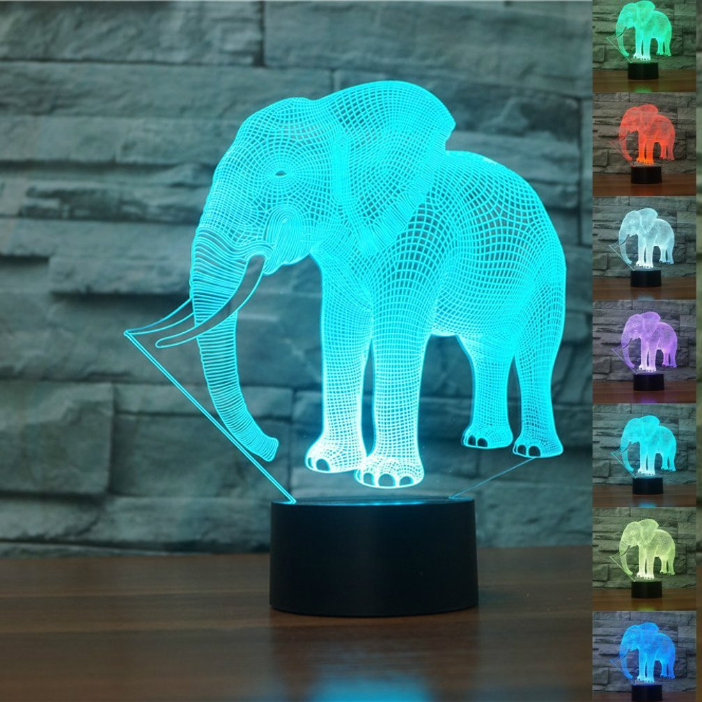3D Elephant Animal Night Light Touch Switch Decor Table Desk Optical Illusion Lamps 7 Color Changing Lights LED Table Lamp Xmas Home Love Brithday Children Kids Decor Toy Gift