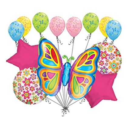 Amazon 13 Pc Bright Pink Colorful Butterfly Balloon Bouquet