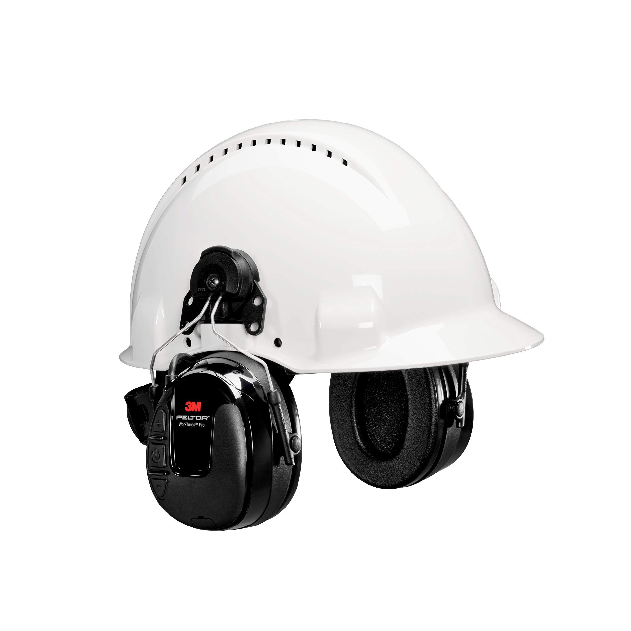 3M 00078371670887 Peltor Worktunes Pro Cap-Mounted Radio Headset, Capacity, Volume, Standard, Black by 3M