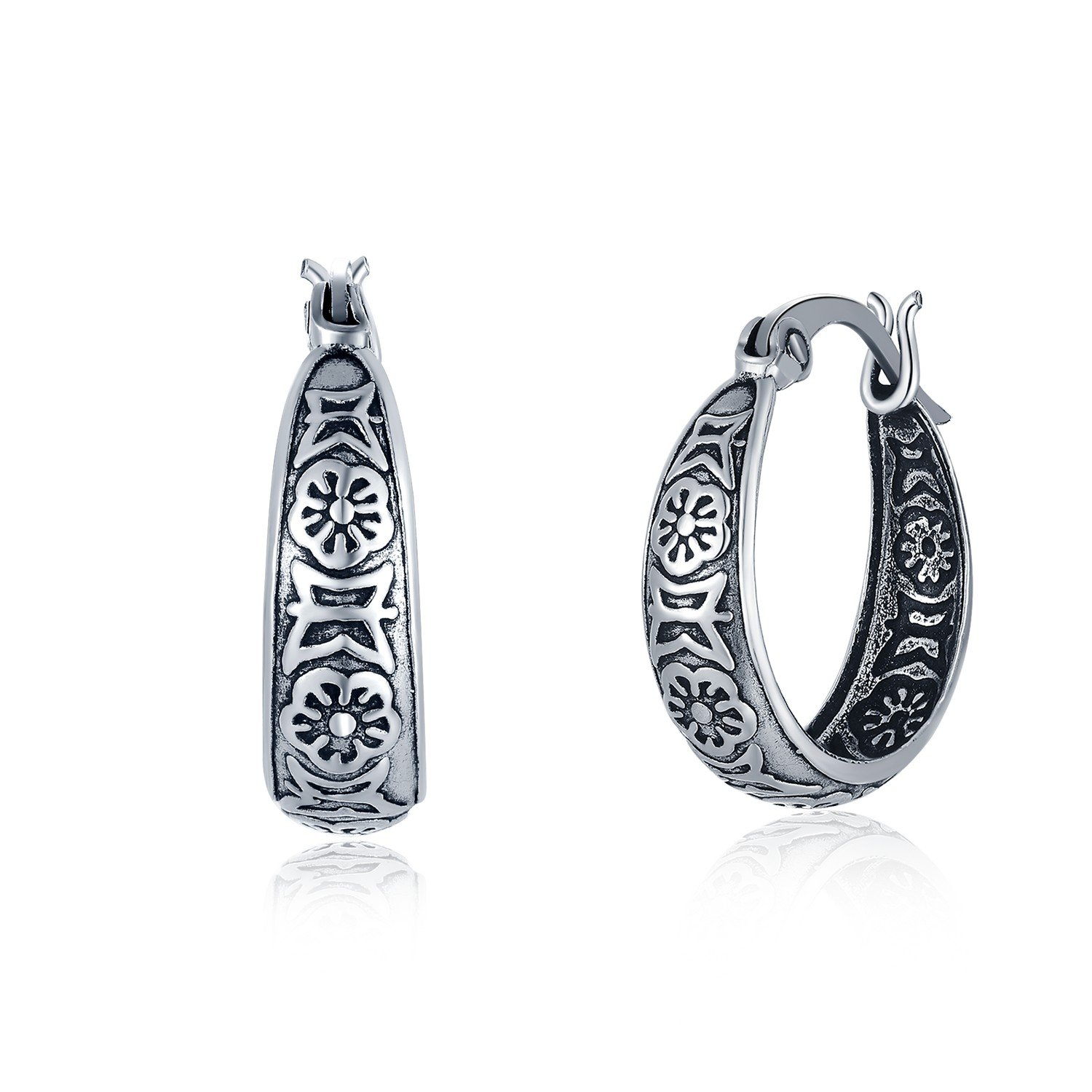 MBLife 925 Sterling Silver Oxidized Tribal Style Hoop Earrings