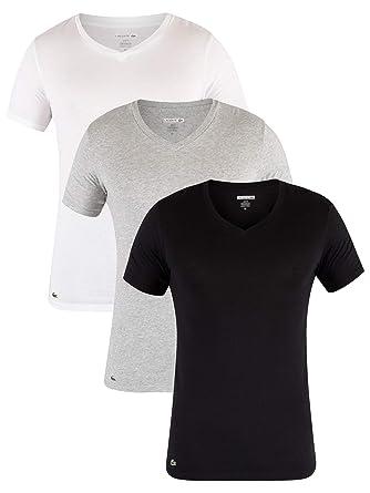LACOSTE 3 Pack Camiseta hombre, con cuello en V, corte slim ...