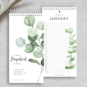 Bliss Collections Perpetual Calendar, 5x10 Monthly and Daily Wall Hanging Journal to Remember Important Dates, Special Days, Birthdays, Anniversaries - Stay Organized - Never Forget a Date (Greenery)