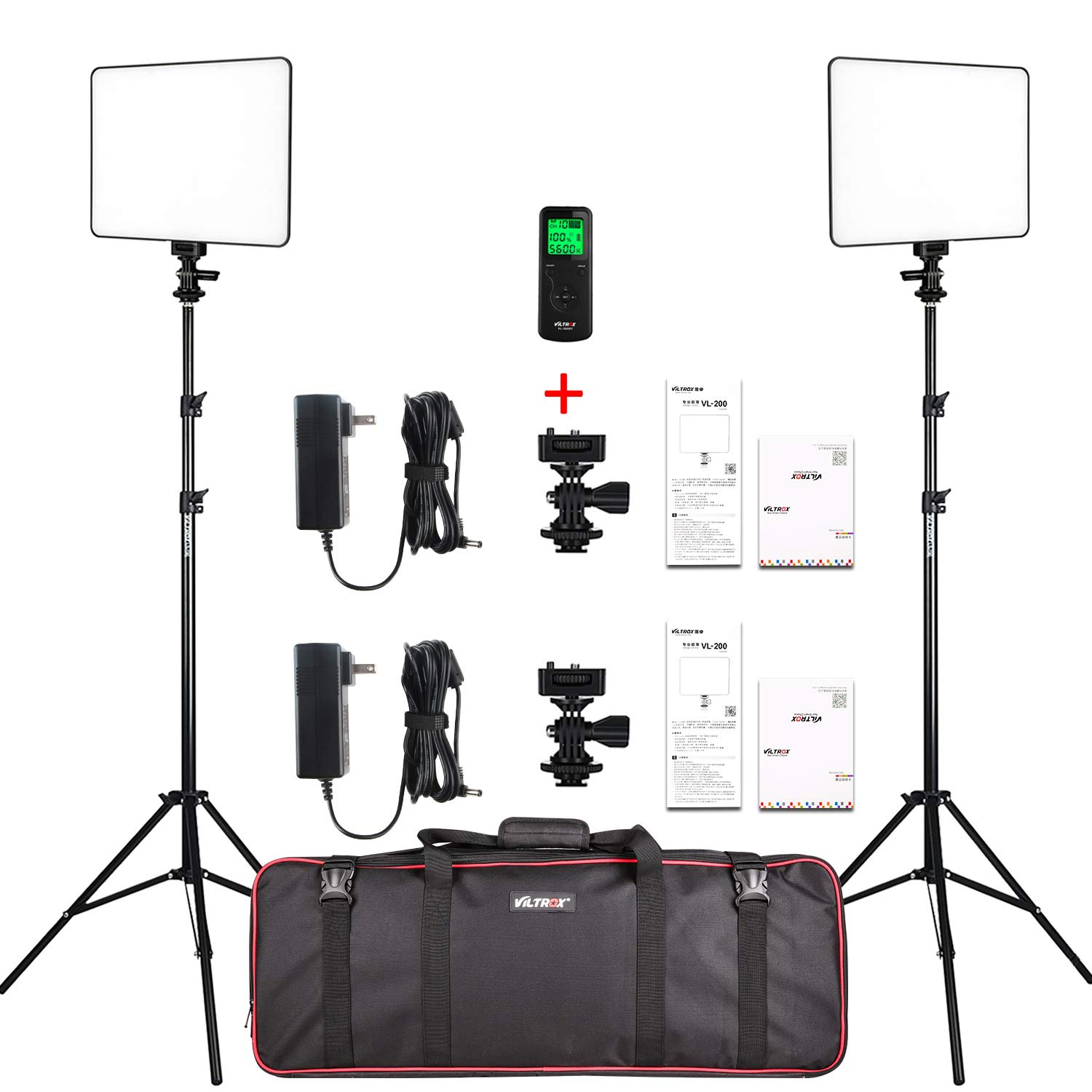 VILTROX 2-Pack VL-200 3300K-5600K CRI95 Super Slim LED Video Light Panel Photography Lighting Kit with Light Stand, Hot Shoe Adapter, Remote Controller, AC Adapter for YouTube Studio Video Shooting by VILTROX