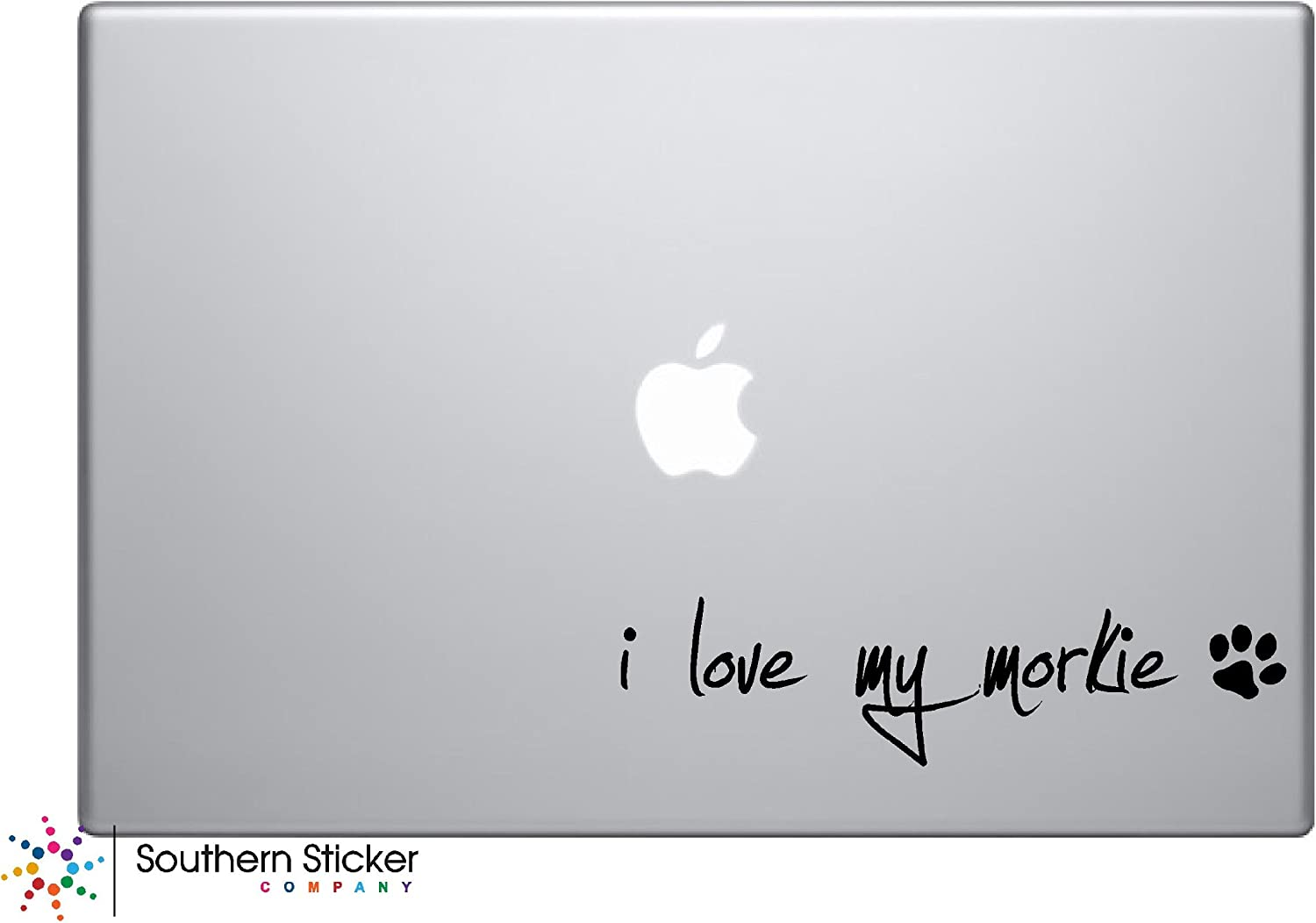 I Love My Morkie Dog Puppy Vinyl Car Sticker Symbol Silhouette Keypad Track Pad Decal Laptop Skin Ipad MacBook Window Truck Motorcycle