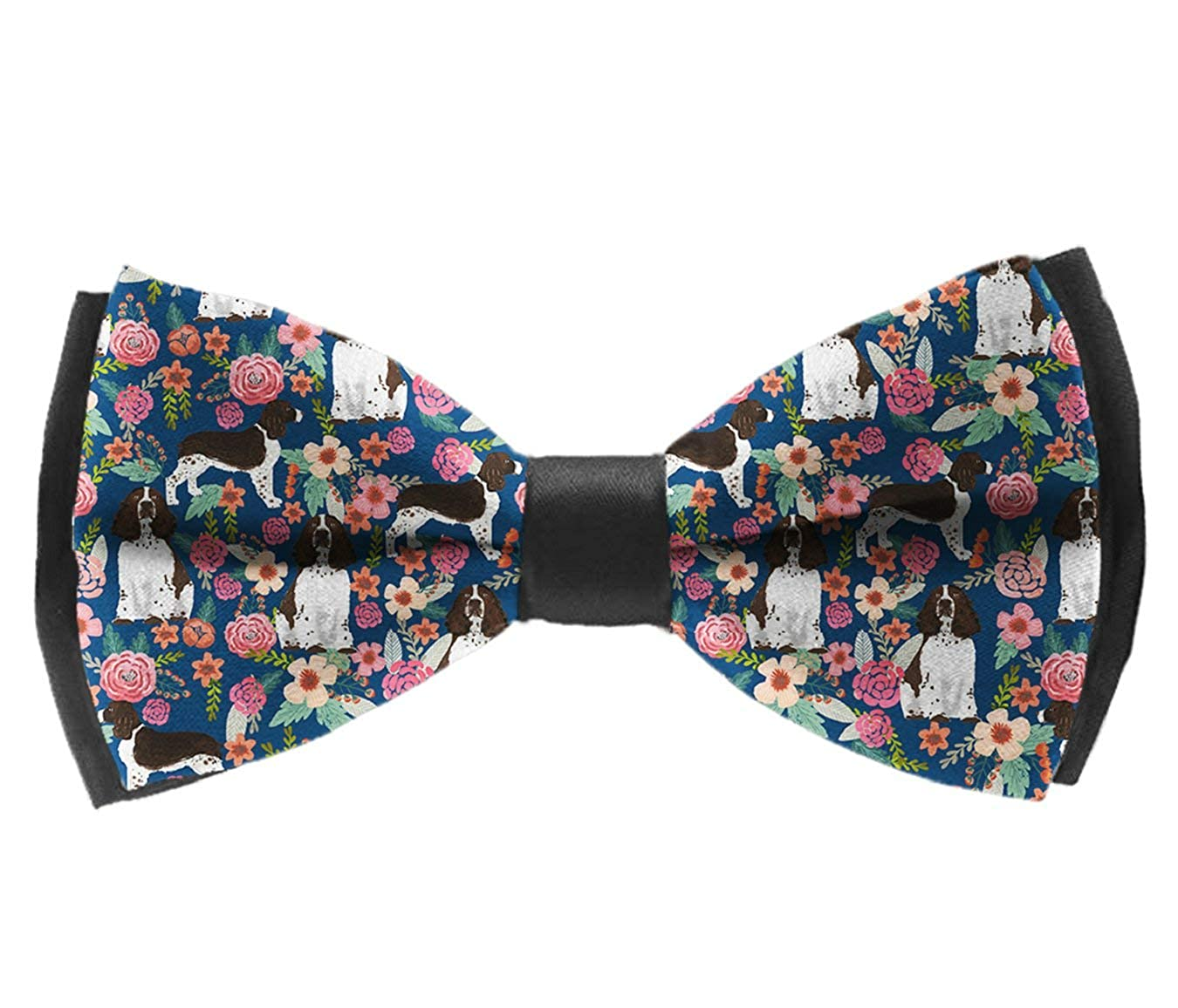 English Springer Floral Bow Tie for Men Tuxedo /& Wedding Solid Color