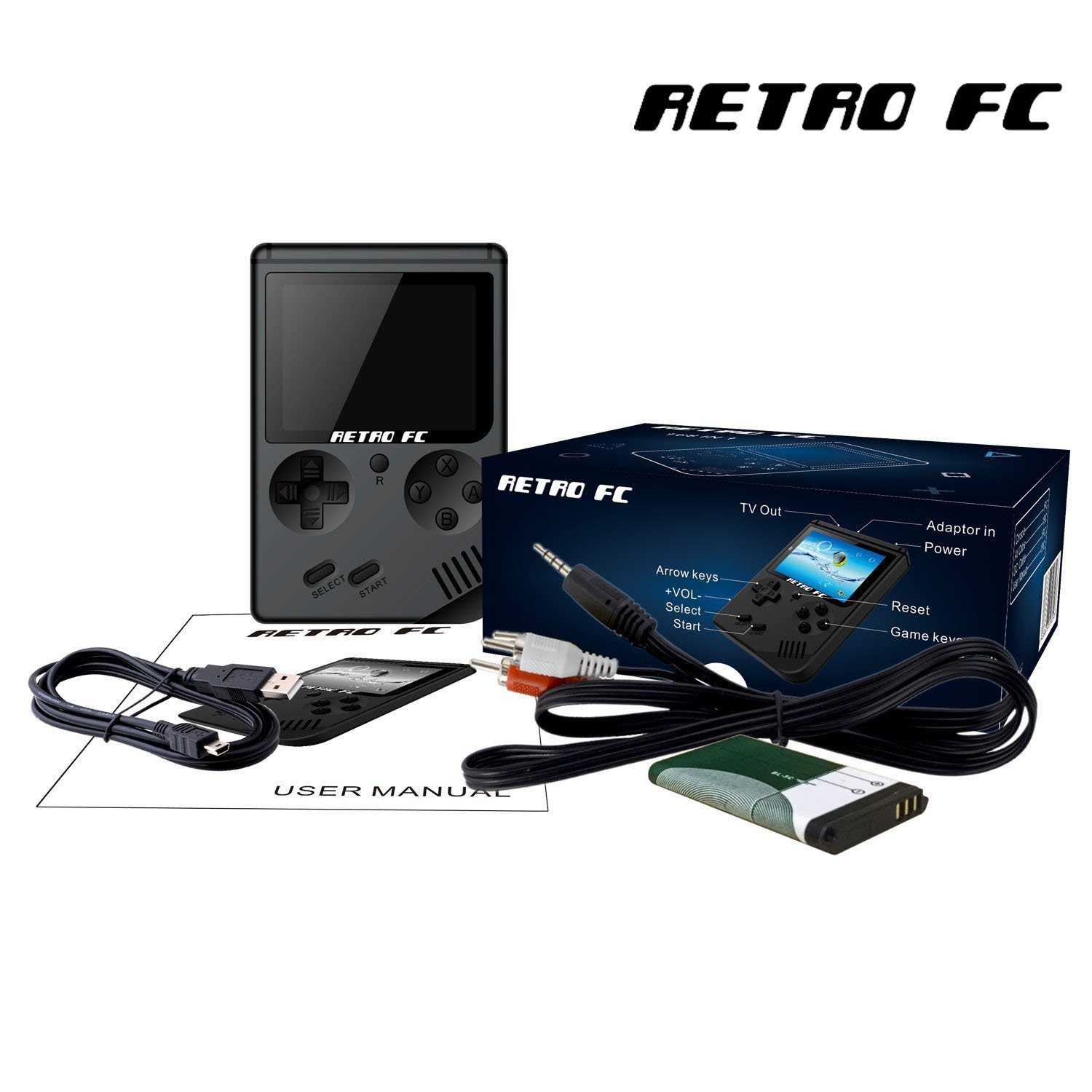MAGIC ROSE Handheld Game Console, Game Console 3 inch with 168 Games Retro FC Game Player Classic Game Console 1 USB Charger Best Birthday Christmas New Year Presents for Children (Transparent Black)