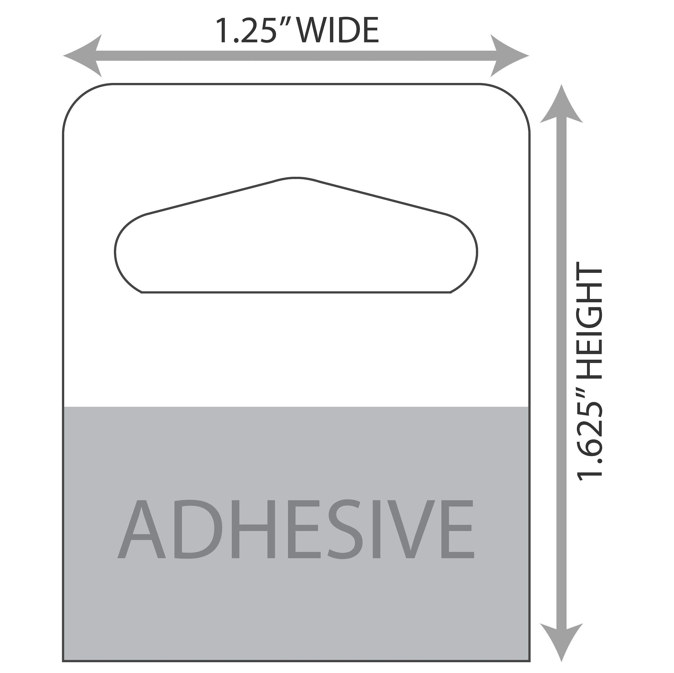 1-1/4'' X 1-5/8'' Slot Holed Adhesive Hang Tabs - 1000/Pack - Heavy Duty Adhesive Hang Tags