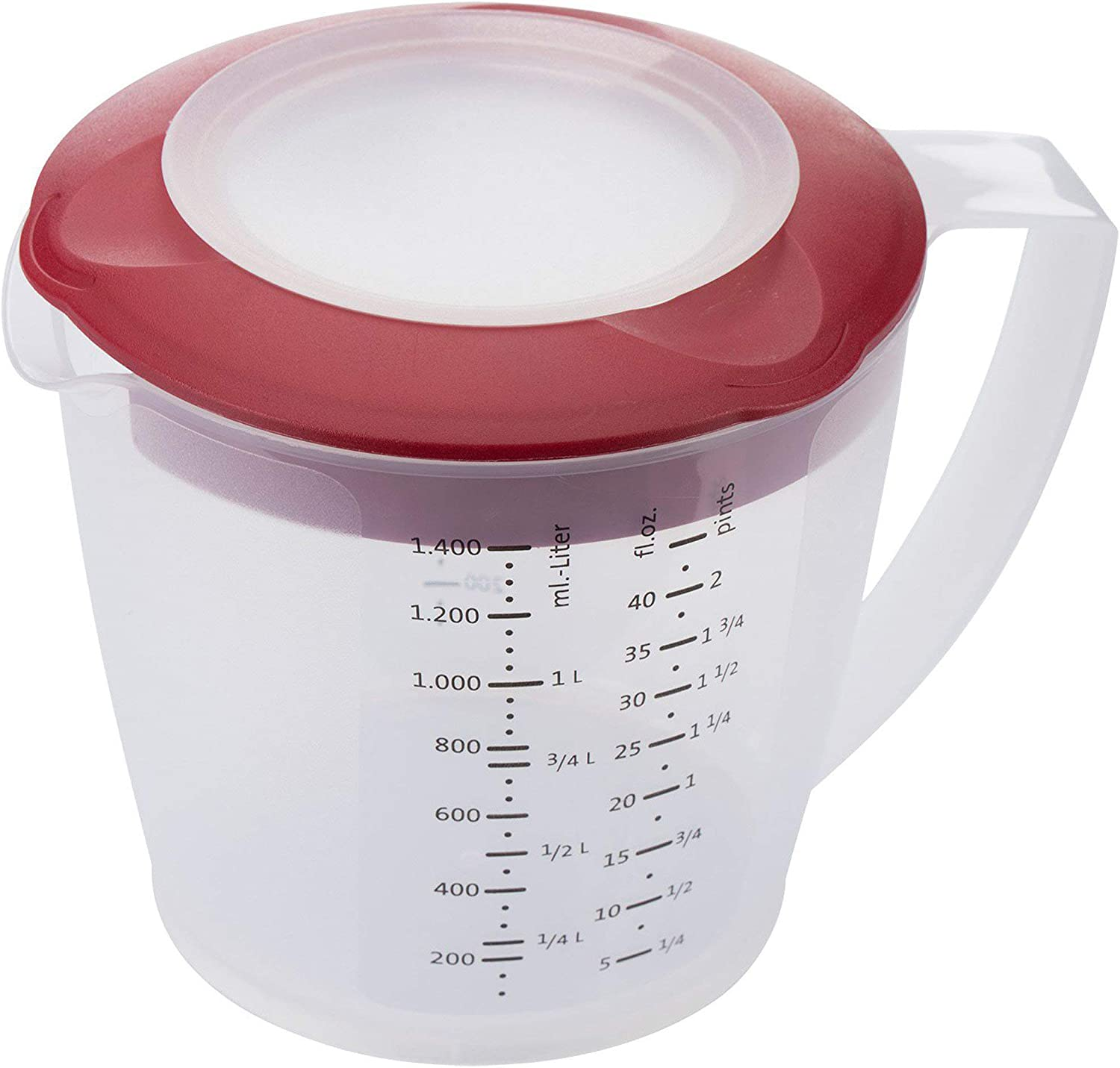 Westmark Multipurpose Measuring Cup and Mixing Pitcher with Splash Guard, 47-Ounce (Red)