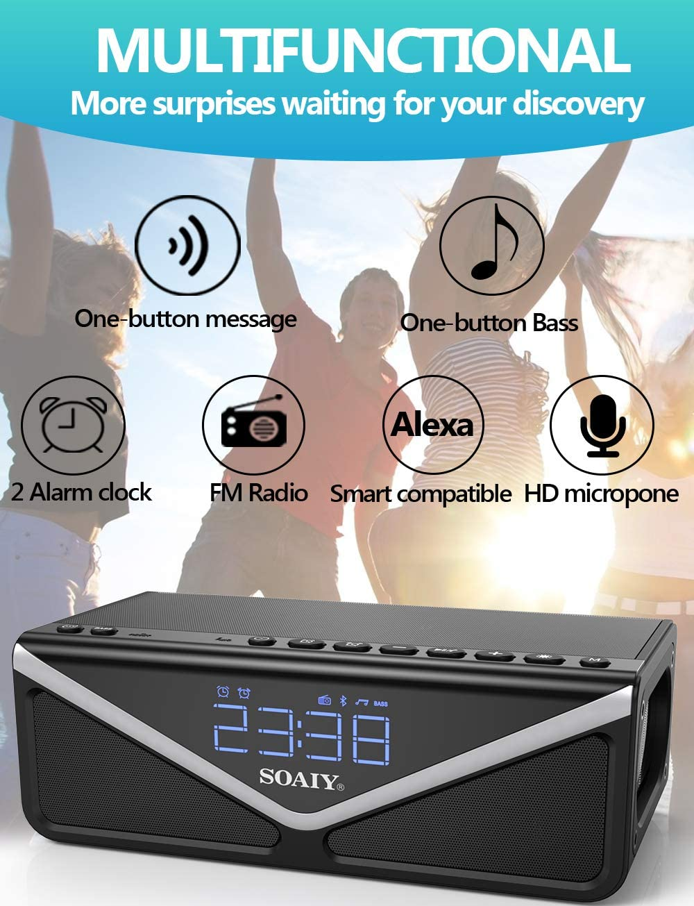 Built-in mic for iPhone Black FM Radio and Dual Alarm Clock 15W Subwoofer Portable Wireless 25W Bluetooth Speakers with Lights /& Enhanced Deep Bass Samsung Bluetooth 4.2,10h Play Time