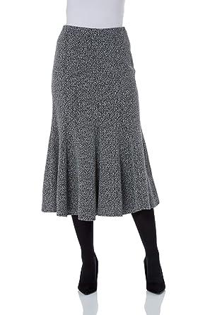 65428b4e467 Roman Originals Women Texture Flared Skirt - Ladies Jersey A Line Midi  Pleat Comfortable Elasticated Waist