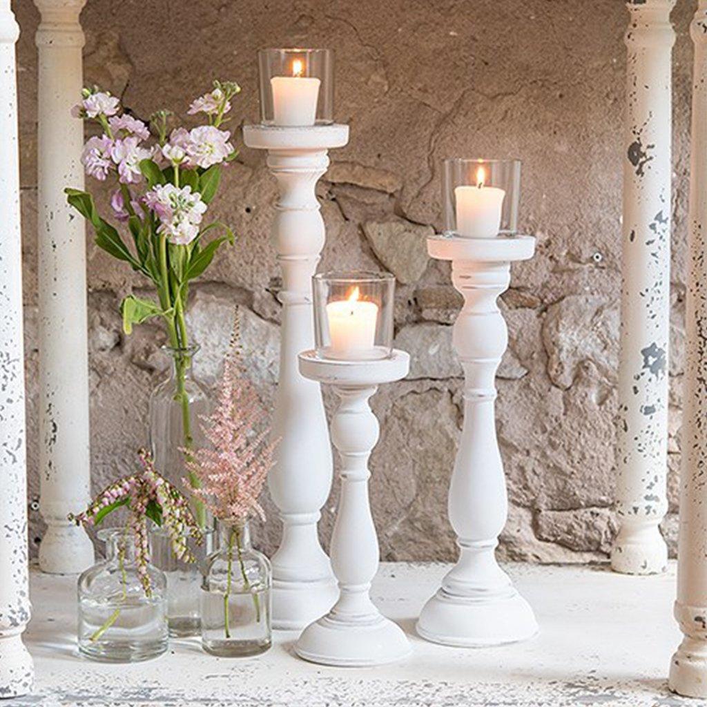 Shabby Chic Spindle Candle Holder Set White Weddingstar 068180022069
