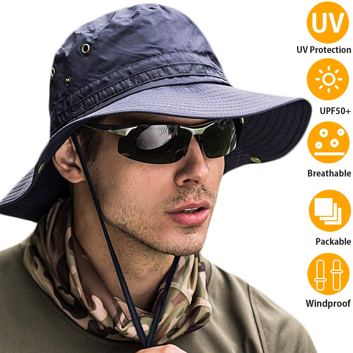 Bakee Sun Hat for Men Women, UPF 50 Sun Protection Wide Brim Fishing Hat and Boonie Hat for Safari Fishing Hiking Beach Golf,2 Size