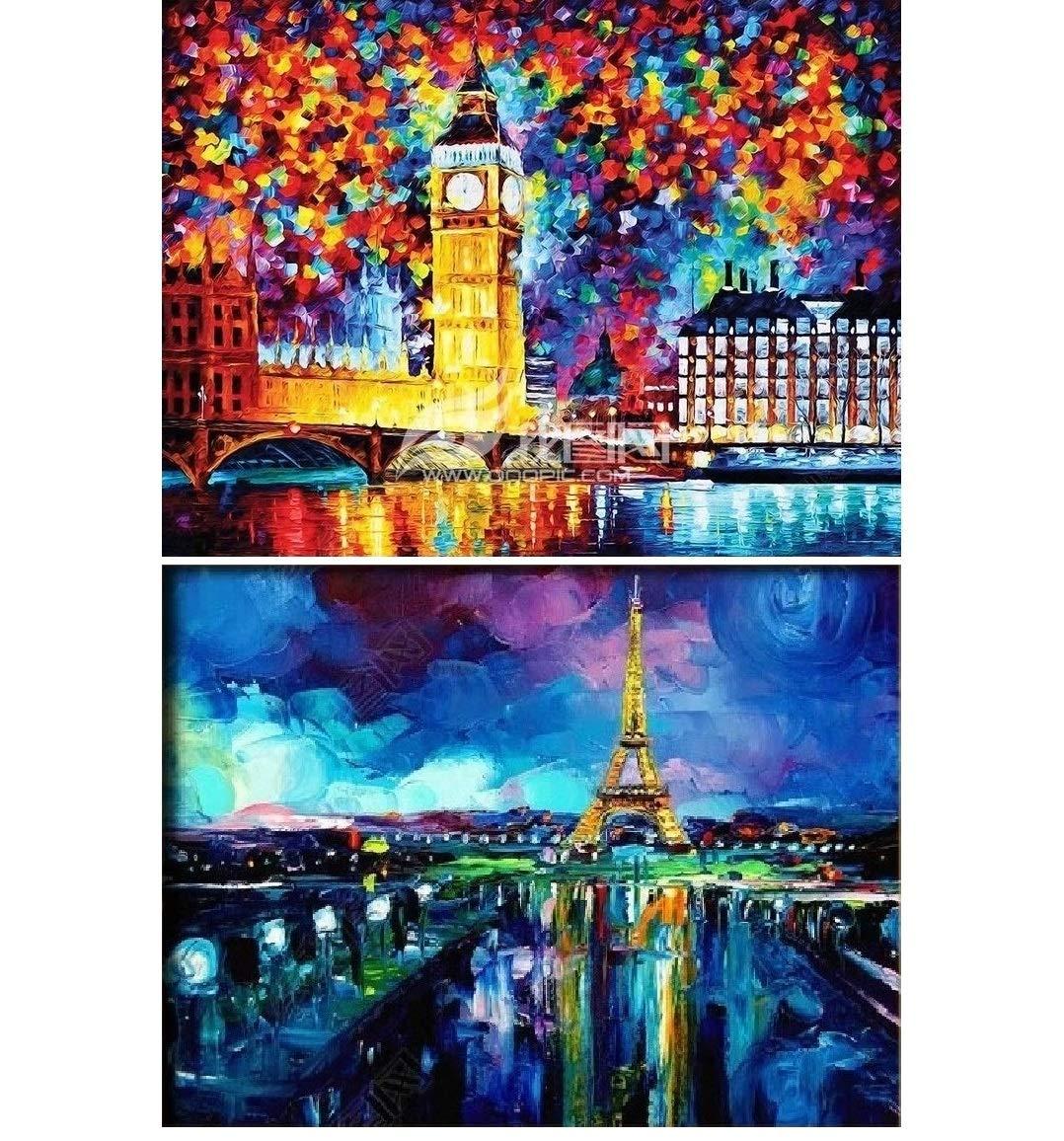 Full Drill Diamond Embroidery Dotz Kit Home Wall Decor 12 x 16 ONEST 2 Packs DIY 5D Diamond Painting Set London and Paris