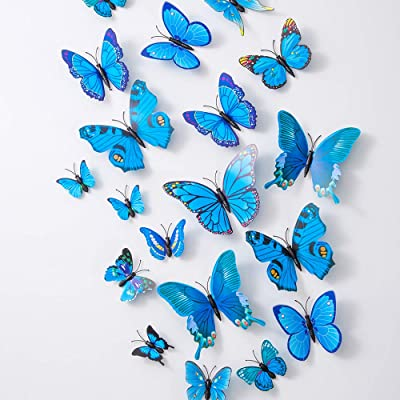 36PCS Butterfly Wall Decals - 3D Butterflies Decor for Wall Sticker Removable Mural Stickers Home Decoration Kids Room Bedroom Decor (Blue): Home & Kitchen