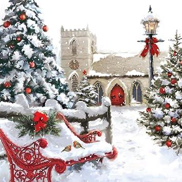 Tarjeta de Navidad musical. Christnas Chrch. Tarjeta de ...