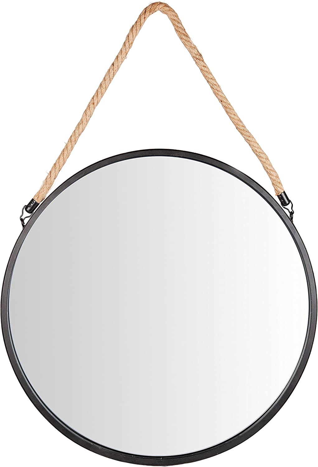 Framed 20″ Decorative Round Black Metal Circle Wall Mirror