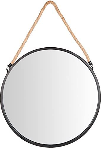 Danya B. SE001 Framed 20 Decorative Round Black Metal Circle Wall Mirror with Hanging Rope Rustic Mirror, Hanging Mirror