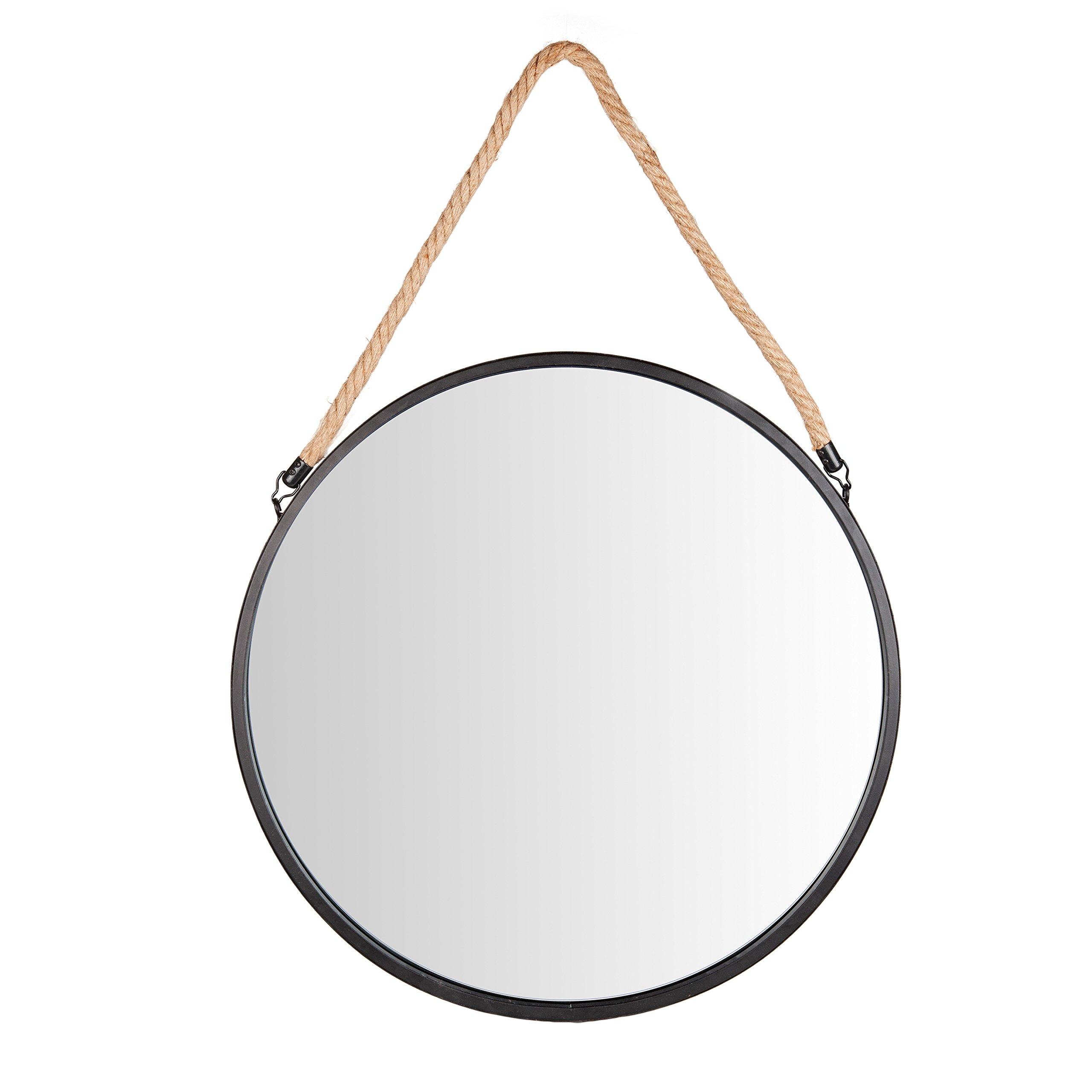 Danya B. SE001 Framed 20'' Decorative Round Black Metal Circle Wall Mirror with Hanging Rope