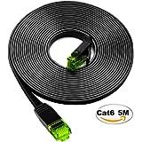 iTLTL LANケーブル UTP CAT6準拠 ストレート フラットタイプ 5m ブラック 緑のクリスタルヘッドにつき 【PlayStation 4 対応】
