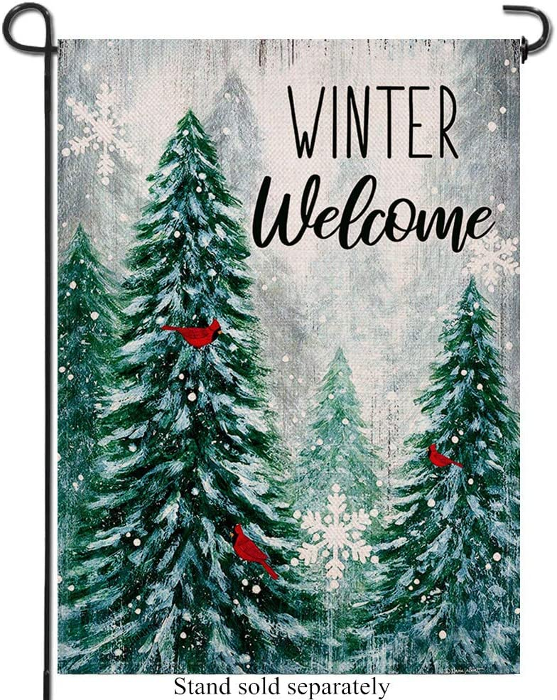 Artofy Winter Welcome Decorative Garden Flag Pine Trees, Snowy Forest Red Cardinals House Yard Outdoor Flag, Farmhouse Burlap Outside Decoration Snowflake Home Decor Flag 12 x 18