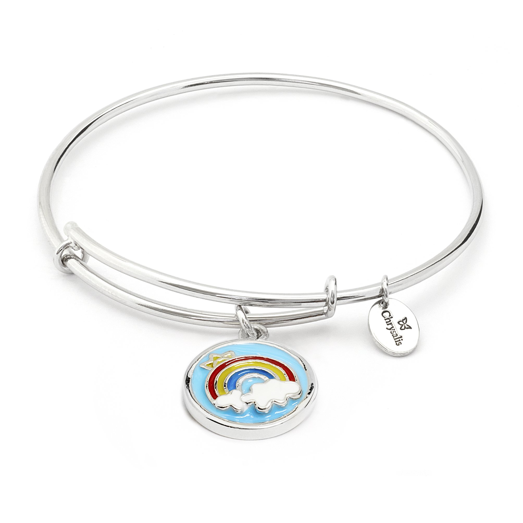 Cute Summer Nature Rainbow Charm Stackable Expandable Bangle Bracelet for Girls, Silver Colorful