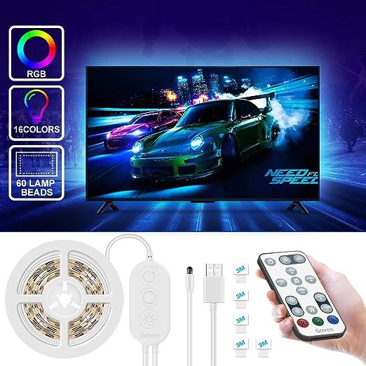 Govee Tiras LED TV 2M RGB USB, Tiras de Luz LED Para TV Alimentación USB Kits de Iluminación Para Televisión RGB 5050 Para Monitores HDTV/PC de 40-55 Pulgadas, 4pcsx50cm: Amazon.es: Iluminación