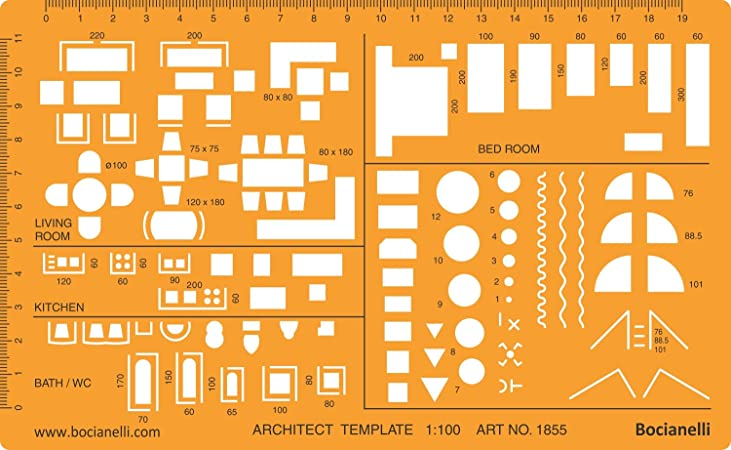 1:100 Scale Architectural Drawing Template Stencil - Architect Technical Drafting Supplies - Furniture Symbols for House Interior Floor Plan Design