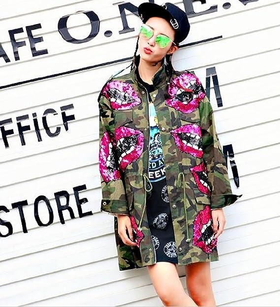 Damen Patches Camouflage Denim Jacke Parka m Bomberjacke h