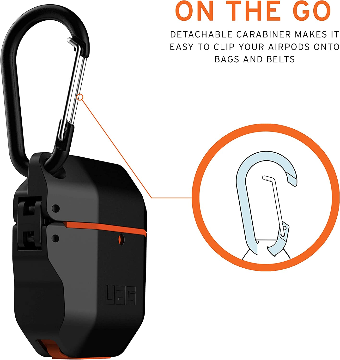 Full-Body Protective Rugged Water Resistant Soft-Touch Silicone Case with Detachable Carabiner URBAN ARMOR GEAR UAG Compatible with AirPods Pro Black//Black 10225K114040