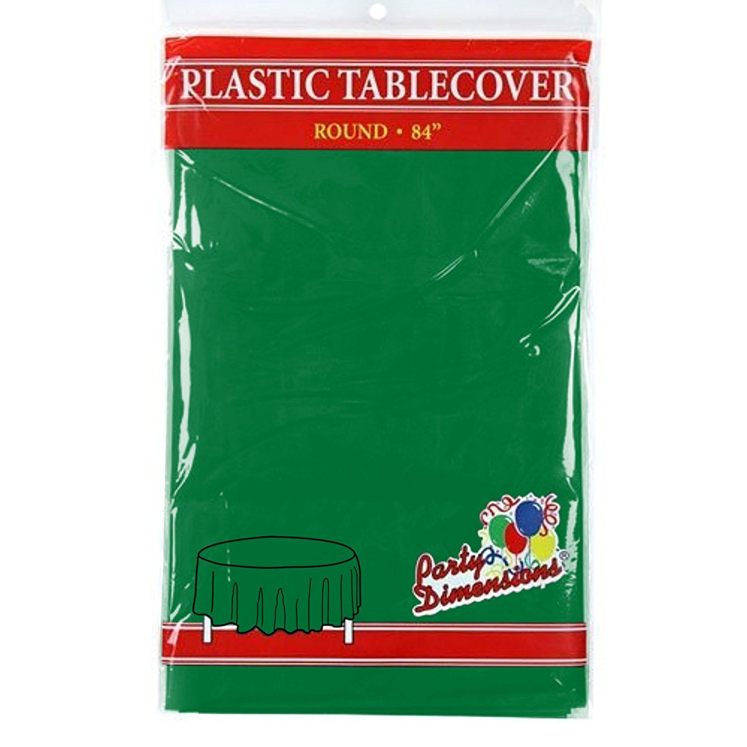 """Green Round Plastic Tablecloth - 4 Pack - Premium Quality Disposable Party Table Covers for Parties and Events - 84"""" - By Party Dimensions"""
