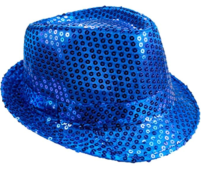 970017141e786 Image Unavailable. Image not available for. Color  LAfashionist Sequin ROYAL  BLUE Party Fedora Hat