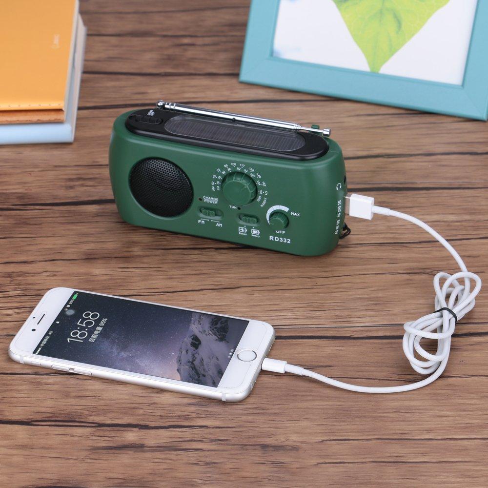 Frostory Solar Dynamo Hand Crank LED Flashlight FM/AM Radio with Emergency Power Bank Survival Kit 332FS (Green) by Frostory (Image #7)