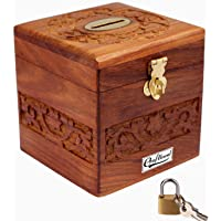 Craftland Wooden Money/Piggy Bank, Money Box, Coin Box with Carved Design for Kids/Children. with Lock
