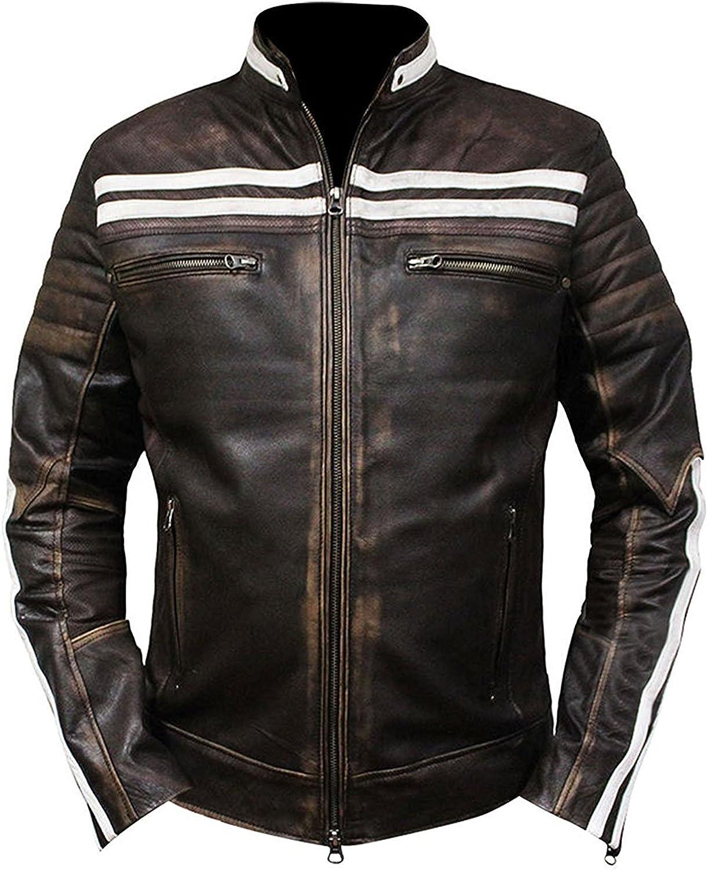 UGFashions Womens Caf/é Racer White Sleeve Stripe Motorcycle Slim Biker Black Leather Jacket