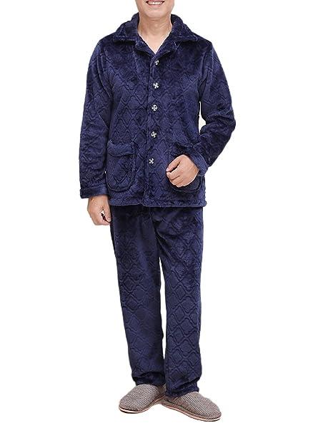 Hombres Caliente Pijama Suave Ocio Azul Pijama Conjunto Lujo Franela De Manga Larga Pijama Superior Y