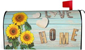 Granbey Retro Wooden Print Waterproof Magnetic Mailbox Cover Sunflower Dust-Proof Letterbox Covers Sweet Saying Love Home Sun Protection Polyester Fashion Post Box Covers Home Garden Decor 18