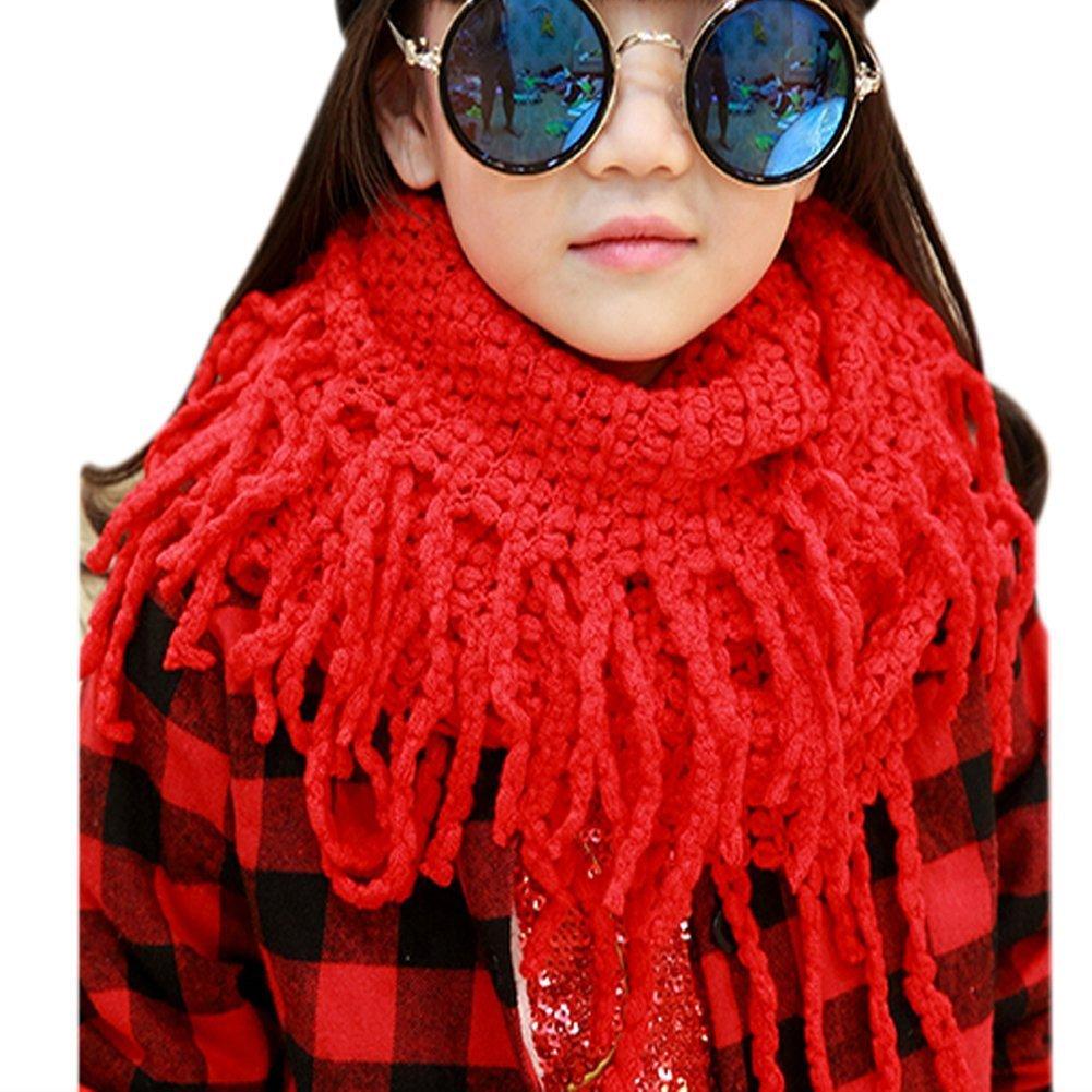 TININNA Fashionable Autumn Winter Kids Toddler Knit Warmer Tassels Neck Scarf Circle Loop Round Scarves Shawl- Light blue