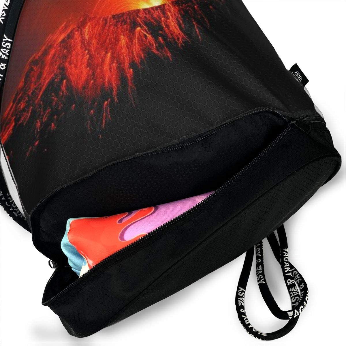 GymSack Drawstring Bag Sackpack Volcano Eruption Sport Cinch Pack Simple Bundle Pocke Backpack For Men Women