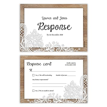 30 X Wedding Rsvp Cards Response Reply Card Rustic Lace Pattern